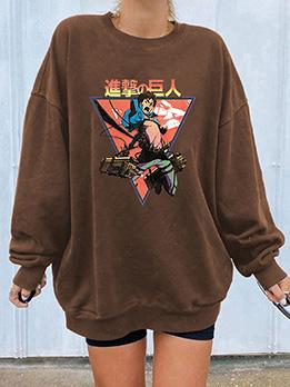 Normal Cartoon Print Round Neck Pullover Sweatshirts