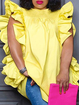 Fashion Pure Ruffles Design Plus Size Top