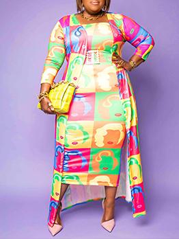 Plus Size Register Print 2 Piece Dress