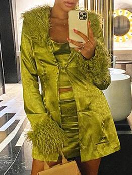 Attractive Fur Collar Tie-Wrap Long Sleeve Green Coat