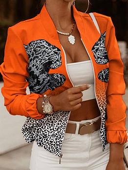 Leopard Print Zipper Up Long Sleeve Orange Coat