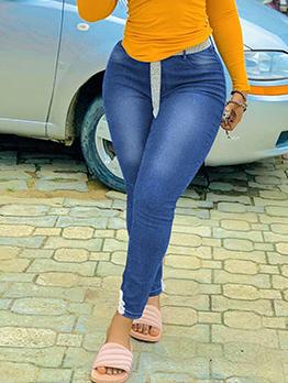 Plus Size Autumn Latest Style Casual Pencil Jeans
