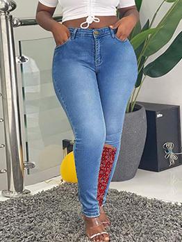 Fashion Paisley Print Patchwork Plus Size Jeans