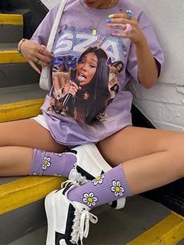 Hip Hop Loose Print Women T-Shirts
