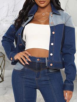 Contrast Color Denim Jacket Coat For Women