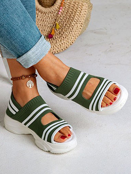 Summer Flat Striped Slip On Shoes