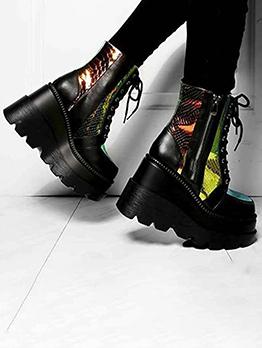 Popular Zipper Wedge Boots For Women