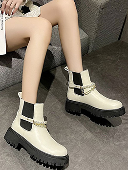 Autumn British Style Patch Chelsea Boots