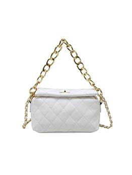 Casual Rhombus Lattice Chain Twist Lock Shoulder Bag