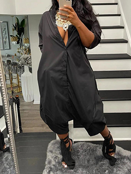 Casual Black Short Sleeve Wide Leg Jumpsuit