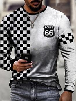 Plaid Print Casual Stylish Fall T-Shirt For Men