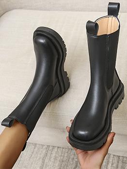 New Black Plush Wedge Martin Boots