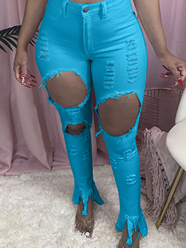 Chic Holes Ripped Plus Size Jeans
