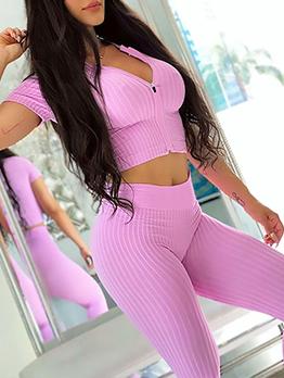 Exercise Solid Short Sleeve Yoga Sets