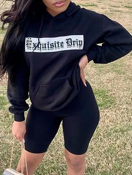 Easy Matching Black Hooded Sweatshirt For Women