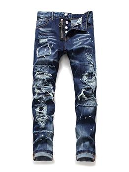 Hollow Out Mid Waist Denim Jeans For Men