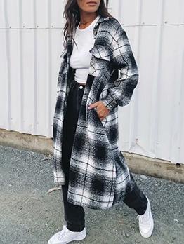 Leisure Plaid Pocket Woolen Cloth Single Breasted Long Coat
