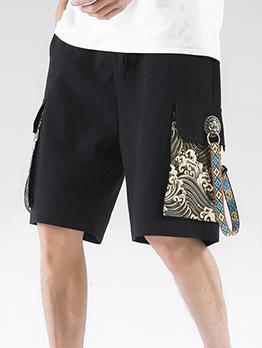 Patchwork Work Vintage Fashion Plus Size Short Pants