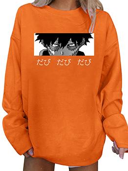 Loose Print Crew Neck T Shirt