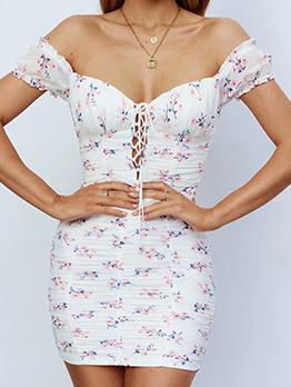Sweet Floral Print Off Shoulder Hollow Out Dress