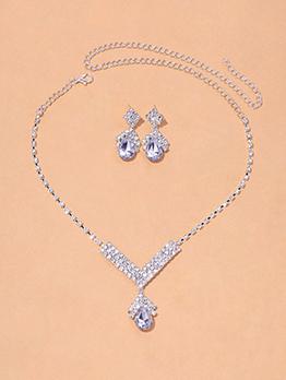 Shinny Simple Rhinestone Earring Necklace Set Bridal Jewelry