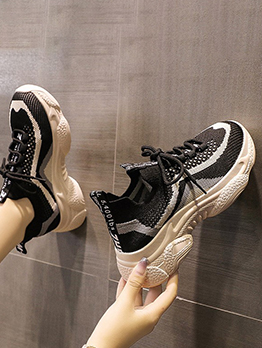 Exercise Contrast Color Wedge Running Shoes