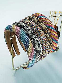 Vintage Colorful Rhinestone Leopard Broadside Hair Hoop