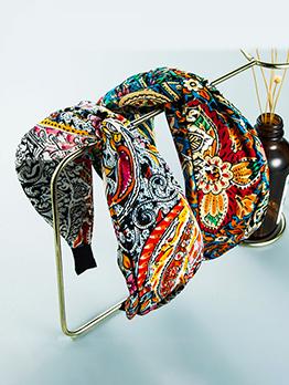 Retro Style Multicolored Print Cross Hair Hoop