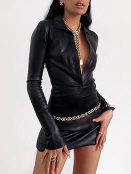 Sexy Black Bodycon Leather Long Sleeve Shirt Dress