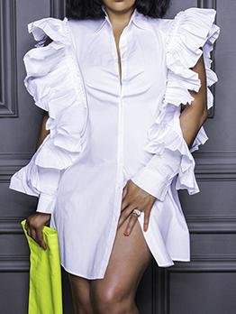 Plus Size White Ruffles Shirt Dress