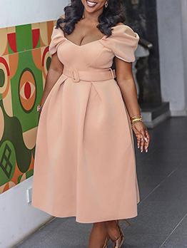 Sexy Pure Puff Sleeve Maxi Dress
