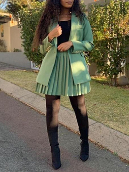 Casual Solid Short Coat With Pleated Skirt