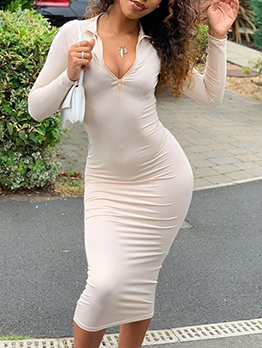 Outdoor Solid Zipper Bodycon Maxi Dress For Women