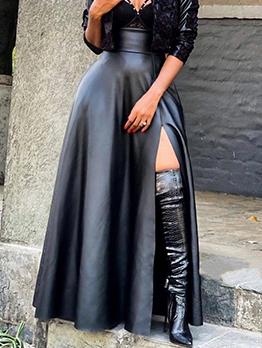 Particular Plain Black Long Slit Pu Maxi Skirt