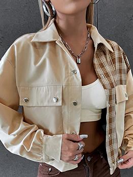 Autumn Corduroy Plaid Design Short Coat