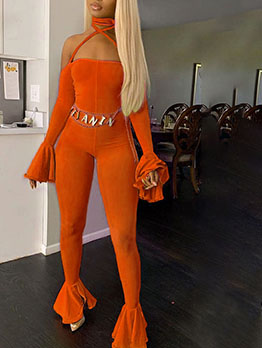 Bright Color Backless Crossed Belt Sexy Jumpsuit