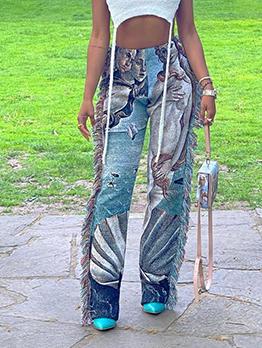 Fashion Colorful Tassel Long Pants For Women