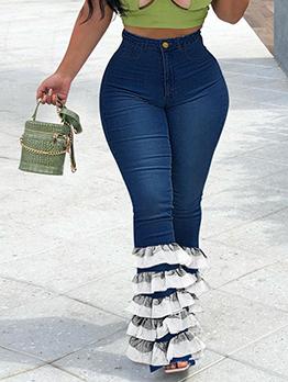 Patchwork Lace Fashion Latest Style Denim Jeans