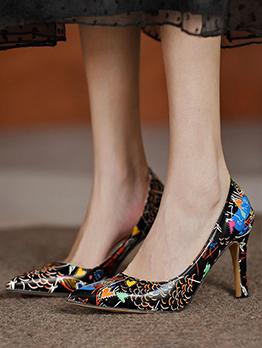 Fashion Printed Ladies Slip On Heels Summer