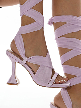 Latest Style Lace Up Solid Sexy Heel Sandals