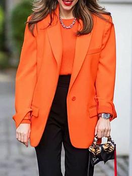 Cool Notch Collar Long Sleeve Orange Blazers