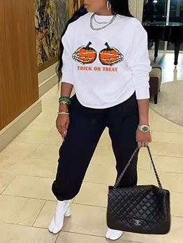 New Pumpkin Print Ladies Sportswear