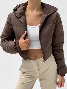 Winter Solid Zipper Up Hooded Collar Short Coat