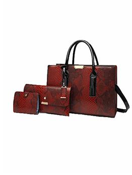 Alligator Print Travel Vintage Handbag Set For Women