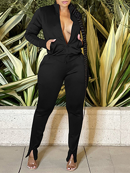 Active Zipper Up Solid Pant 2 Piece Outfits