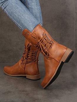 New Rivet Zipper Knight Boots For Women