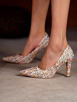 New Point Toe Weaving Slip On Heels