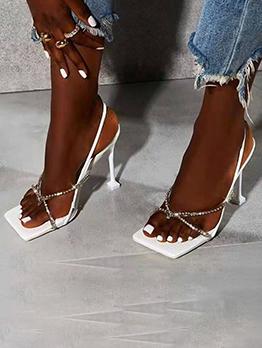 Sexy Rhinestone Square Toe High Heels