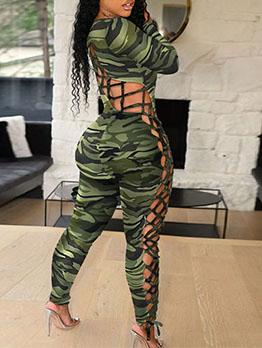 Hollow Out Fashion Print Sheath Plus Size Jumpsuits