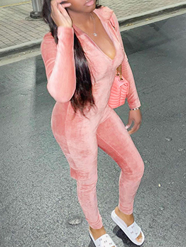 Fashion Solid Turndown Collar Long Sleeve Jumpsuit